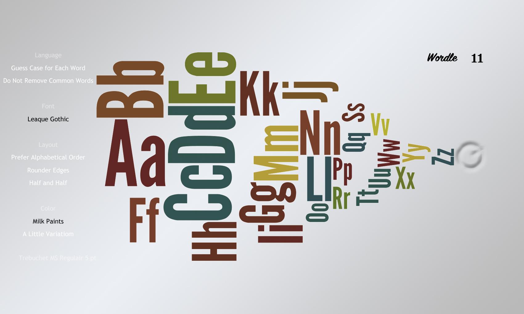 Wordle11 Leaque Gothic