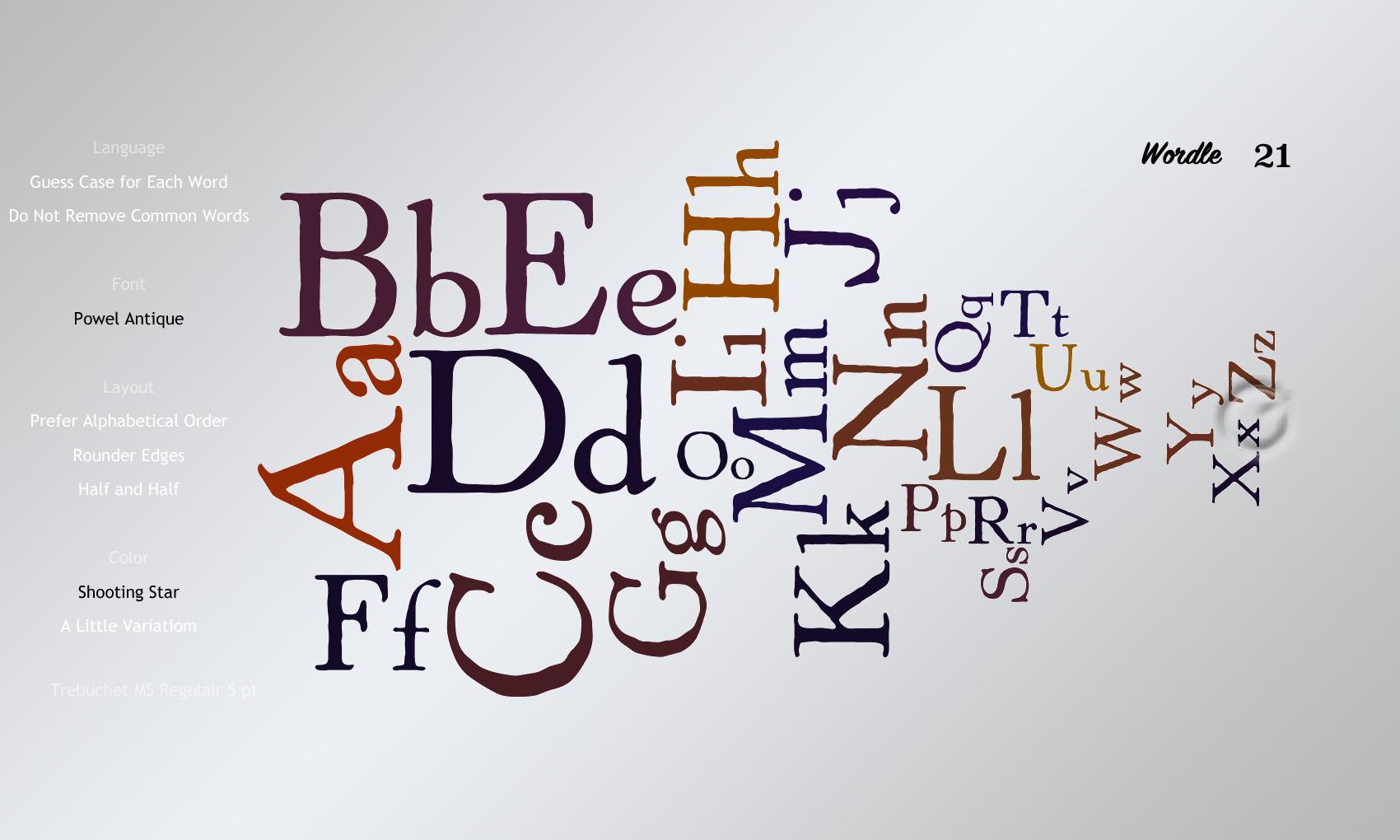 Wordle 21 Powel Antique
