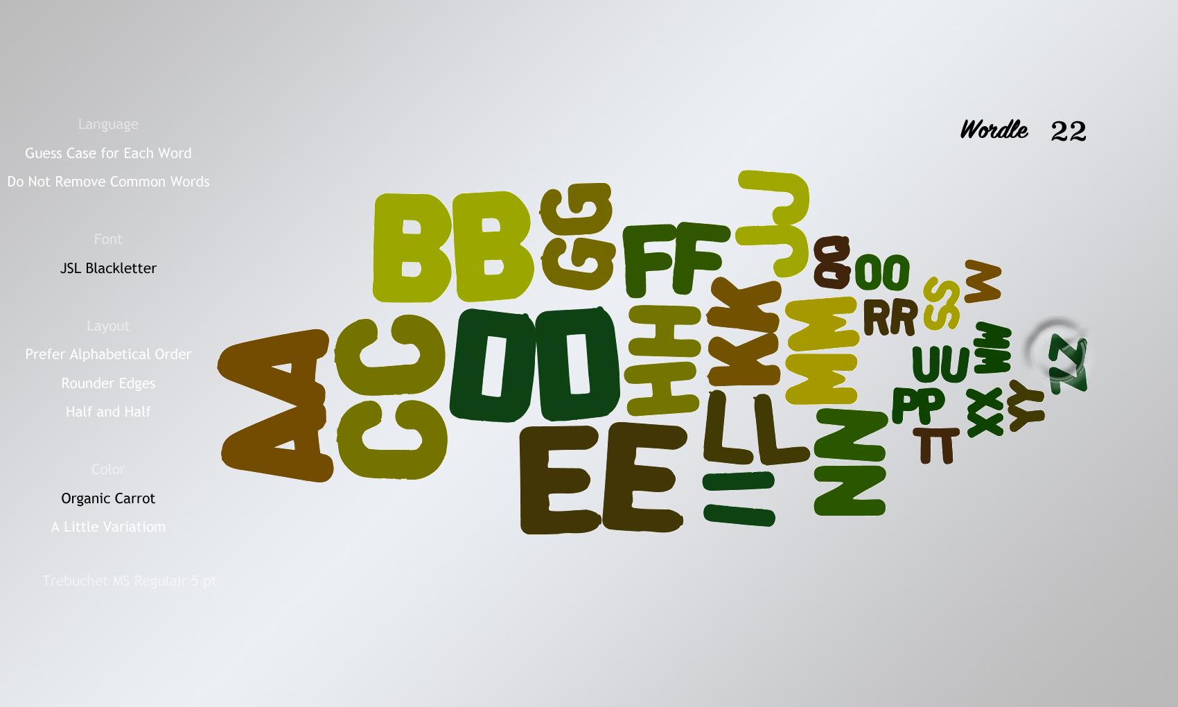 Wordle 22 JSL Blackletter