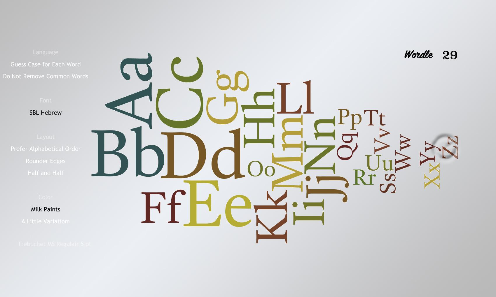 Wordle 29 SBL Hebrew