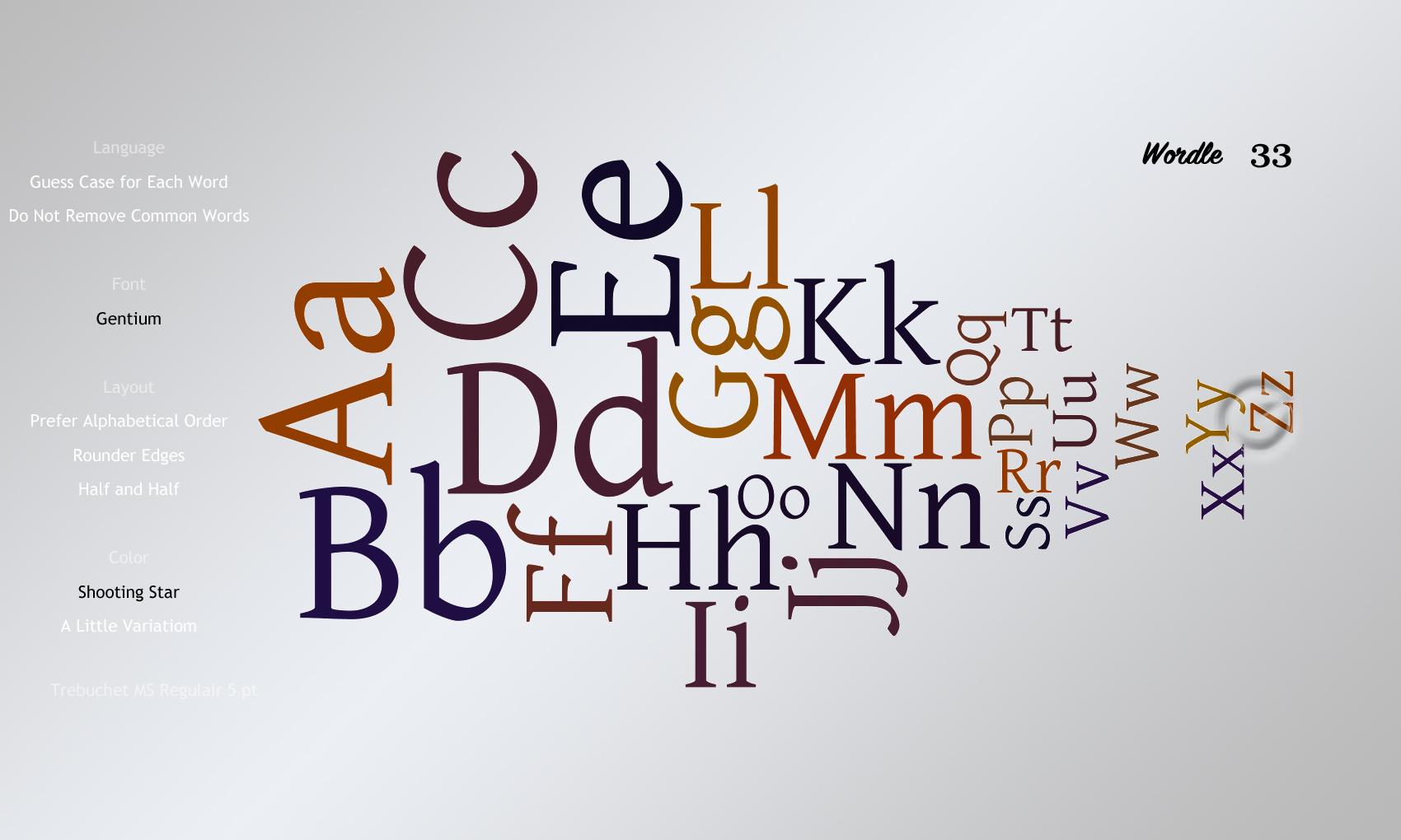 Wordle 33 Gentium