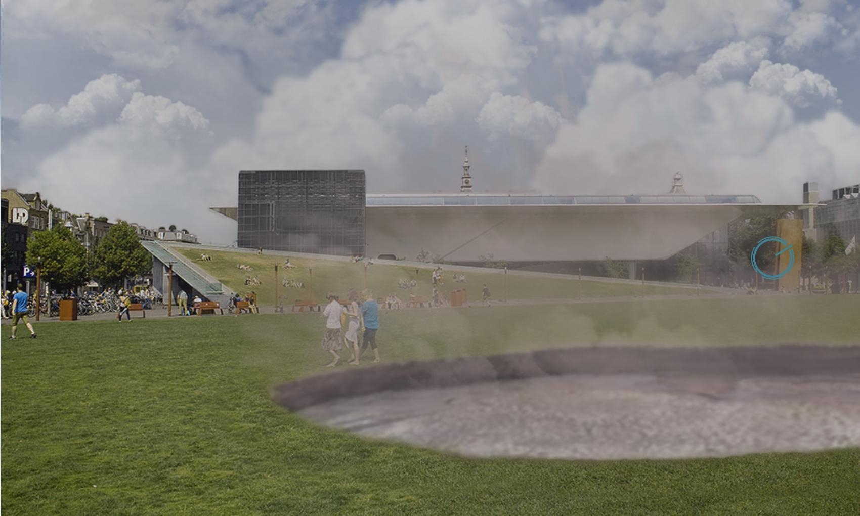 Sinkhole in Amsterdam Museumplein